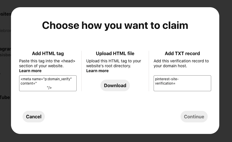 Choose how to claim your site