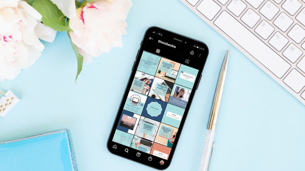 Phone on Desk displaying Instagram Business Account Feed