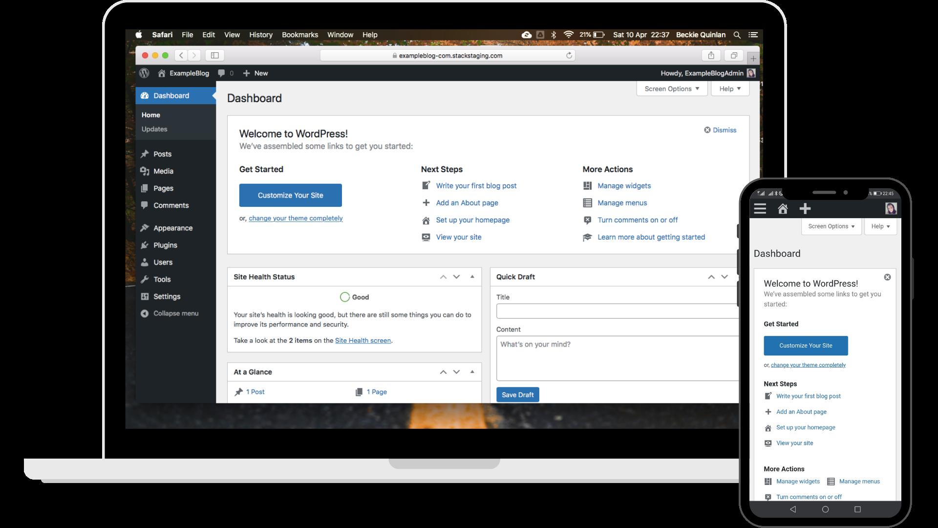 WordPress on Laptop and Phone